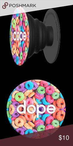 """SALE!! """"Dope"""" Fruit Loops PopSocket ❤️❤️ Add a single PopSocket, or a pair of PopSockets, to the back of almost any mobile device to transform its capabilities. PopSockets """"pop"""" whenever you need a grip, a stand, an earbud-management system, or just something to play with. This PopSocket features a rainbow of fruit loops and the word, """"Dope"""". Super cute and limited quantities! PopSockets Accessories Phone Cases"""