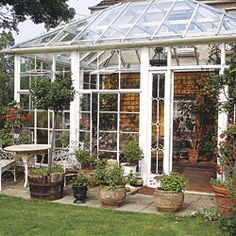 A greenhouse can be built against the south-facing wall of a house for convenient access, as well as for added protection against extreme te...