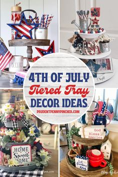 Fourth Of July Decor, 4th Of July Party, July 4th, Fouth Of July Crafts, Patriotic Table Decorations, Dollar Tree Decor, Summer Diy, Tray Decor, Rustic Decor