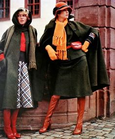 Loden coats, Burda International Fall/Winter 1974 -- it doesn't end Seventies Fashion, 70s Fashion, Fashion History, Women's Fashion Dresses, Winter Fashion, Vintage Fashion, Fashion Magazines, Fashion Boots, Vintage Outfits