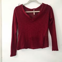 Red long sleeve top with intricate back Top has purposely slightly frayed bottom of shirt and sleeves . Beautiful back Tops Tees - Long Sleeve