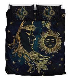 This celestial duvet cover will get you in the mood for sleeping with its warm colors and soft materials. Order your own set of sun and moon bedding today. White Pillow Covers, White Pillows, Bed Covers, Duvet Cover Sets, Harry Potter Decor, Duvet Bedding Sets, Blanket Cover, Minky Fabric, Sun Moon