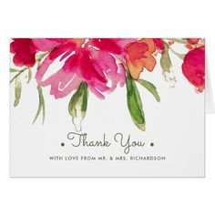Romantic Watercolor Flower Painting Design Wedding Thank You Cards with personalized photo and text. Matching Wedding Invitations, Bridal Shower Invitations, Save the Date Cards, Wedding Postage Stamps, Bridesmaid To Be Request Cards, Thank You Cards and other Wedding Stationery and Wedding Gift Products available in the Floral Design Category of the Best Day Ever store at zazzle.com