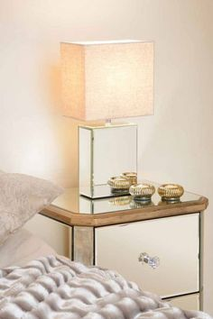 Mirrored furniture Glass Mirror   Table Bedside Desk Lamp Ideal Gift