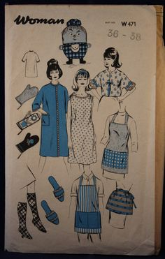 Vintage Sewing Pattern for a Set of Aprons and Household Items Size Medium Woman W471 by TheVintageSewingB on Etsy