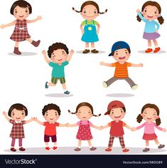 Happy kids cartoon holding hands and jumping vector image on VectorStock Happy Cartoon, Cartoon Images, Cute Cartoon, Cartoon Drawings, Cute Little Girls, Cute Kids, Hand Doodles, Cartoon Background, Kids Ride On