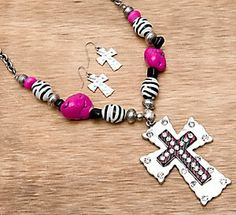 M Pink and Zebra and Beads Cross Necklace and Earrings Jewelry Set