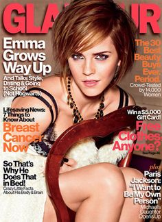 Hermione who? Emma Watson strikes a sexy pose on Glamour cover.  Read the details here:  http://www.eonline.com/news/343023/hermione-hotness-emma-watson-poses-in-a-sexy-bra-on-glamour-cover