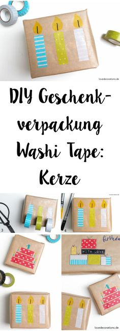 DIY Gift Wrapping with Washi Tape: Candle | DIY Geschenkverpackung mit Washi Tape: Kerze