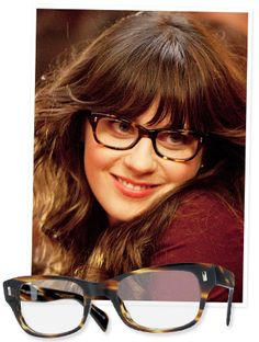 """Zooey Deschanel's show New Girl draws more than 5 million viewers each week, and we love her """"adorkable"""" style in each episode. Her specs are one of her signature items—the Wacks 51 Cocobolo by Oliver Peoples. Larry Leight, the founder and creative director of the frames company, describes the look as """"a feminine design is inspired by the masculine styles worn by Buddy Holly and Roy Orbison."""""""