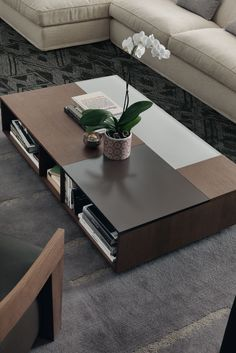 Prive by Jesse is a rectangular coffee table with open compartments, and top with frosted lacquered glass inserts.