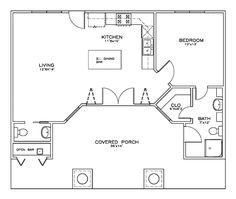 First Floor Plan of Cottage Craftsman House Plan 59356