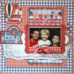 All American Boys - Scrapbook.com (Created by CharlotteJ) Wendy Schultz onto Scrapbook Layouts.
