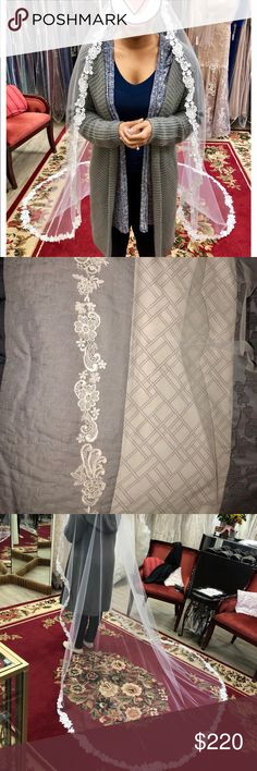 Cathedral Length Veil Brand new veil never worn. Custom Hand stitched in perfect Condition. Comb Attached Other