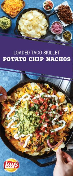 Sponsored by Frito-Lay. Combine all your favorite game day flavors into one appetizer with the help of this recipe for Skillet Loaded Potato Chip Nachos. Made with LAY'S® Classic Potato Chips, taco beef, melted cheese, pickled jalapeños, salsa, sour cream, and guacamole, this shareable snack is sure to score big at your Super Bowl LII party. Complete your homegating menu with this savory dish to make one tasty, game-winning play.