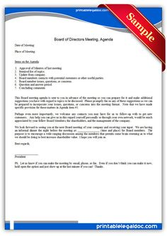 Free Printable Board Of Directors Meeting Agenda Legal Forms