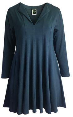 Sixteen47: Blue Slate  Crepe Jersey  Fluted Tunic/Dress
