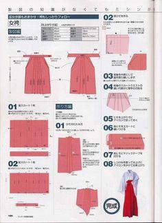 DIY: Hakama selber nähen. Nähanleitung auf Japanisch für eine Hakama im Andon-Stil (Rock)!  // DIY: Sewing-instruction in Japanese for Hakama, andon-style (skirt)!
