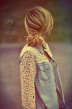 Adorable Lace Denim Shirt And Cute Braid