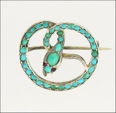 Victorian Turquoise Silver Snake Pin - Ruby Eyes