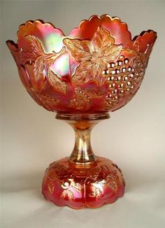 Many Fruits by Dugan Splendid Marigold Carnival Glass Punch Bowl Base | eBay