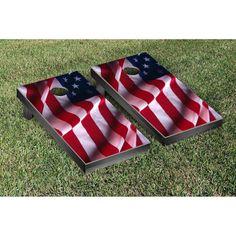Victory Tailgate Wavy U.S. Flag Tournament Cornhole Set - 7422
