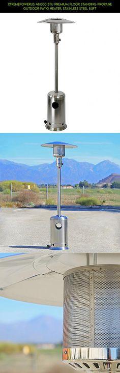 XtremepowerUS 48,000 BTU Premium Floor Standing Propane Outdoor Patio Heater,  Stainless Steel 8.5ft #