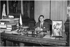 Perón en su despacho de Casa Rosada durante su primer gobierno