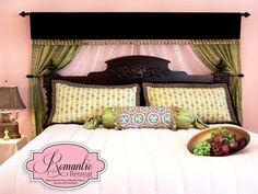 A Romantic Bedroom Retreat with Rowan & FreeSpirit Fabrics: Layered Bed Curtain Backdrop with Velvet Valance | Sew4Home