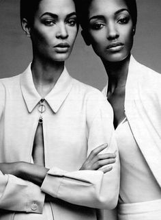 """Joan Smalls & Jourdan Dunn in """"Spare, Me"""" for W Magazine February 2014, ph. by Patrick Demarchelier."""