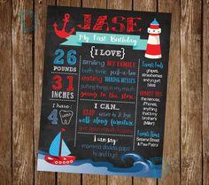Nautical First Birthday Chalkboard - Nautical Birthday Milestone - Sailboat Birthday Poster -  Ocean Birthday Party *Digital File* by DigitalArtDesignsByB on Etsy