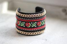 Slavic Folk Bracelet Black and Red by HeriniasJewelryChest on Etsy, $50.00