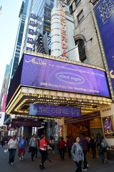 Stunning marquee at the historic New Amsterdam Theatre, where Aladdin the Musical takes place!
