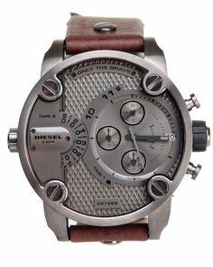Raxion Media | Style Ideas: Diesel Men Mr. Daddy Silver / Black 57Mm Face W/ Black Leather Strap Black