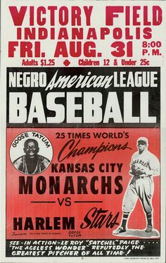 Negro American League Baseball Poster - Kansas City Monarchs with Satchell Page vs. Harlem Stars