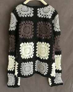 Granny Square Crochet Sweater Long Sleeve Women Jumpers