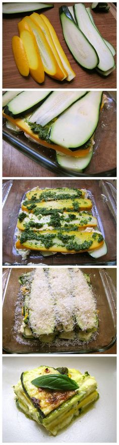 Healthy Zucchini Lasagna (Without the Pasta Sheets) make while husband is at sea because he wont eat it Healthy Cooking, Healthy Snacks, Healthy Eating, Cooking Recipes, Zucchini Lasagna, Summer Squash Lasagna, Pesto Lasagna, Veggie Lasagna, Vegetarian Recipes