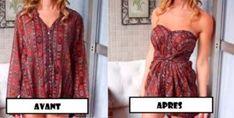 Transformez une chemise trop large en robe bustier en 5 minutes chrono !