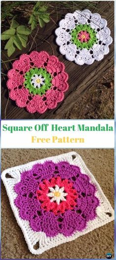 Crochet Square Off Heart Mandala Free Pattern - Crochet Heart Square Free Patterns #crochetsquares