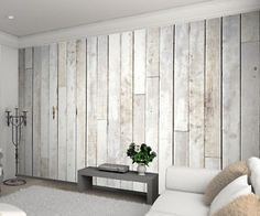 1WALL White Wash Wood Panel Picture Photo Wallpaper Mural 3 15M X 2 32M   eBay