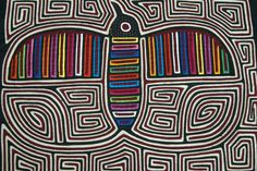 Kuna Abstract Traditional Mola Hand stitched Applique Labyrinth Bird Paradise11B See Asmatcollection
