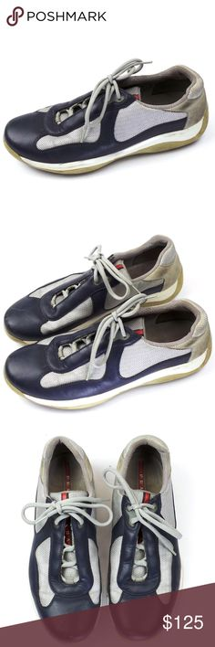 Authentic PRADA American Cup Blue Leather Shoes Authentic PRADA American Cup Blue Leather Shoes Sneakers SZ 10 Prada Shoes