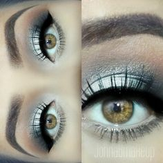 Silver, Blue, and taupe Smokey Eye with perfectly shaped brows and brow makeup…