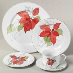 Poinsettia 5 Piece Place Setting by Block | Replacements, Ltd. Christmas China, Christmas Ornaments, Christmas Place, Christmas Ideas, Place Settings, Table Settings, Christmas Dinnerware, Twinkle Lights, Holiday Tables