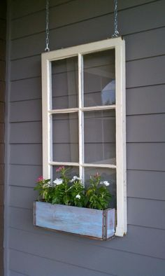 ON SALE Wood window flower box - window frames - antique wood windows - 6 pane wood window pane - wood flower box ideas - wood window ideas Wooden Window Boxes, Wooden Flower Boxes, Wooden Windows, Diy Flower Boxes, Outdoor Flower Boxes, Wooden Window Design, Antique Windows, Window Boxes For Sale, Hanging Window Boxes