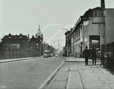 Poplar High Street: looking east by Poplar Technical College East End London, Old London, London City, London Metropolitan, Irish Catholic, London Pictures, Back In The Day, London England, Family History