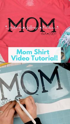 Home Decor videos DIY Personalized Mom Shirt DIY cute Mom shirts with vinyl. Watch a full Cricut design space video tutorial on how to create the file to cut with a Cricut. Cricut Vinyl, Vinyle Cricut, Cricut Craft Room, Cricut Ideas, Cricut Tutorials, Cricut Project Ideas, Plotter Silhouette Cameo, Silhouette Cameo Tutorials, Silhouette Files