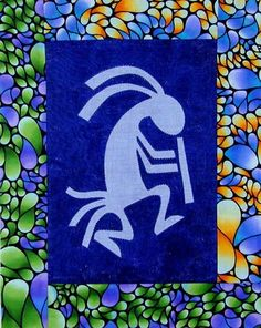 Kokopelli Organza Applique Quilt by Roswitha Meidl-Danek www. Applique Quilts, Superhero Logos, Quilt Patterns, Joy, Country, Sewing, Hawaii, Quilt Sizes, Appliques