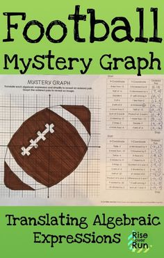 Practice translating literal algebraic expressions with this fun activity. The answers create ordered pairs that turn out to be a football. Mystery picture graph for middle or high school math. Perfect for the Super Bowl! Algebra Worksheets, Fun Math Activities, Algebra 1, Math Resources, Translating Algebraic Expressions, High School Algebra, 8th Grade Math, Math Concepts, Mystery