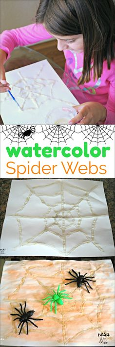 These watercolor spider webs are easy to make with homemade glue and watercolor paint. this is such a fun Halloween activity! Halloween Activities For Kids, Art Activities For Kids, Art For Kids, Monster Activities, Preschool Activities, Fun Halloween Games, Halloween Crafts For Kids, Halloween Halloween, Kids Crafts
